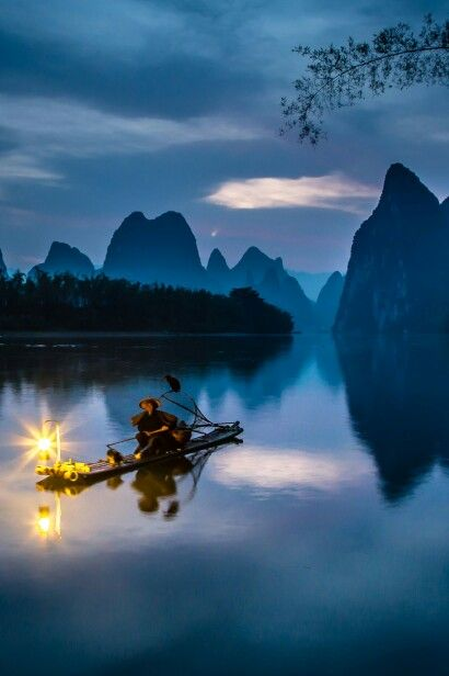 Cormorant Fisherman at Dawn David Long https://500px.com/photo/107102579/cormorant-fisherman-at-dawn-by-david-long?from=user Before sunrise on the Li River, cormorant fisherman practice their trade as they have done for hundreds of years #china #cormorant fisherman #guilin