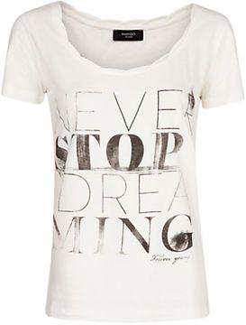 Mango Pleat Detail Print T-Shirt, Natural White on shopstyle.co.uk