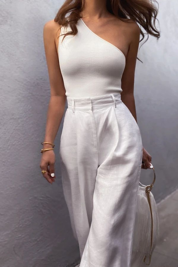 Photo of BASIC ONE SHOULDER TOP – IVORY