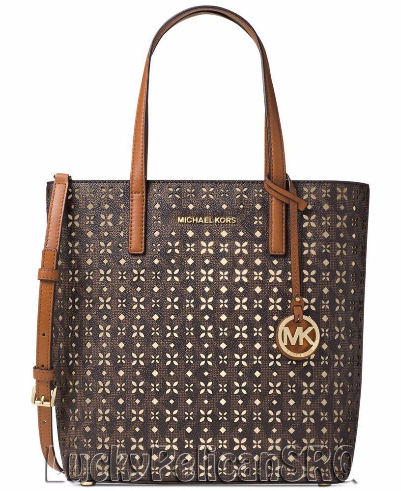 Michael Kors Hayley Mk Signature Medium N S Top Zip Bag In Tote Brown