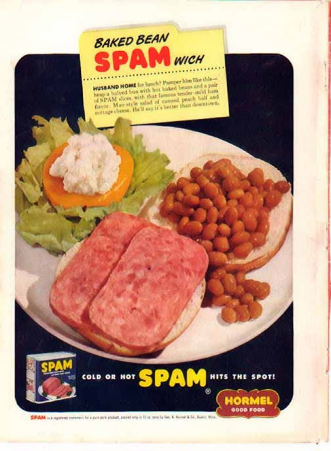 spam and baked bean sandwich hormel 1949 if you slop some of the beans