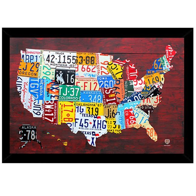 License Plate Map of the US Print (24-inch x 36-inch) with ...
