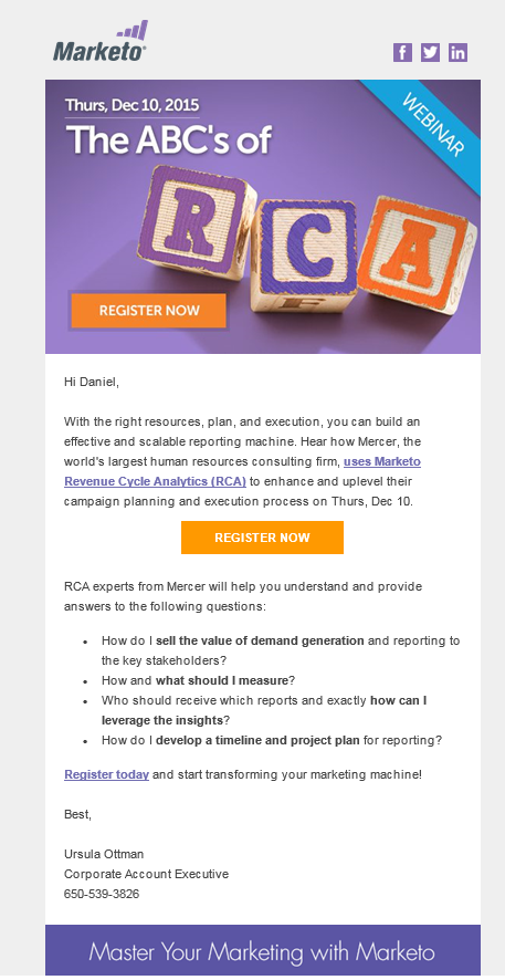 Marketo Email Webinar Invitation For The ABCs Of Revenue Cycle