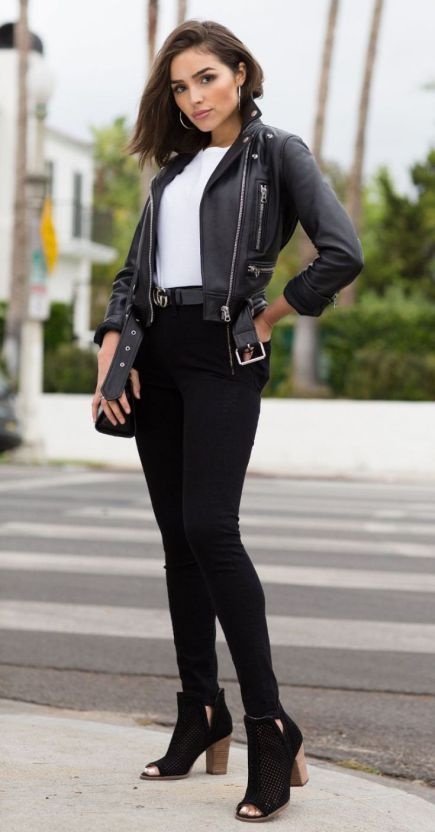 65 Comfy Office Fall Outfits And Leather Jacket Ideas Women S Style Outfits Jacket Outfit Women Biker Jacket Outfit Women Comfy Fall Outfits