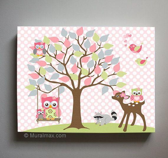 Owl Decor Girls wall art - OWL canvas art Baby Nursery Owl with Swing 10x12 & Owl Decor Girls wall art - OWL canvas art Baby Nursery Owl with ...