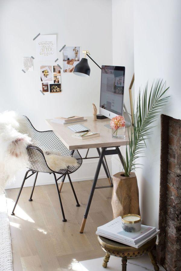 Boho chic modern office space: http://www.stylemepretty.com/living/2016/11/04/a-parisian-inspired-minimal-guest-bedroom/ Photography: Carol Vaziri - http://carolvaziri.com/