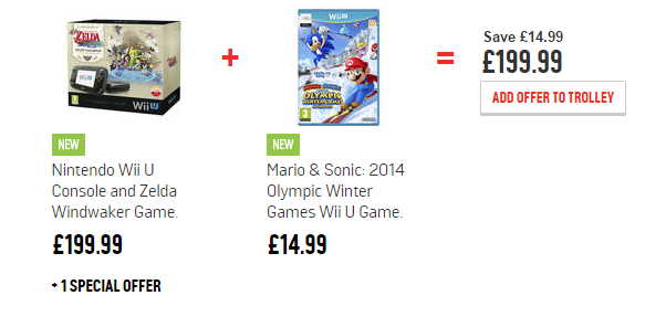 The Legend of Zelda Wii U Console Bundle + £10 voucher + Mario & Sonic Winter Games £199.99