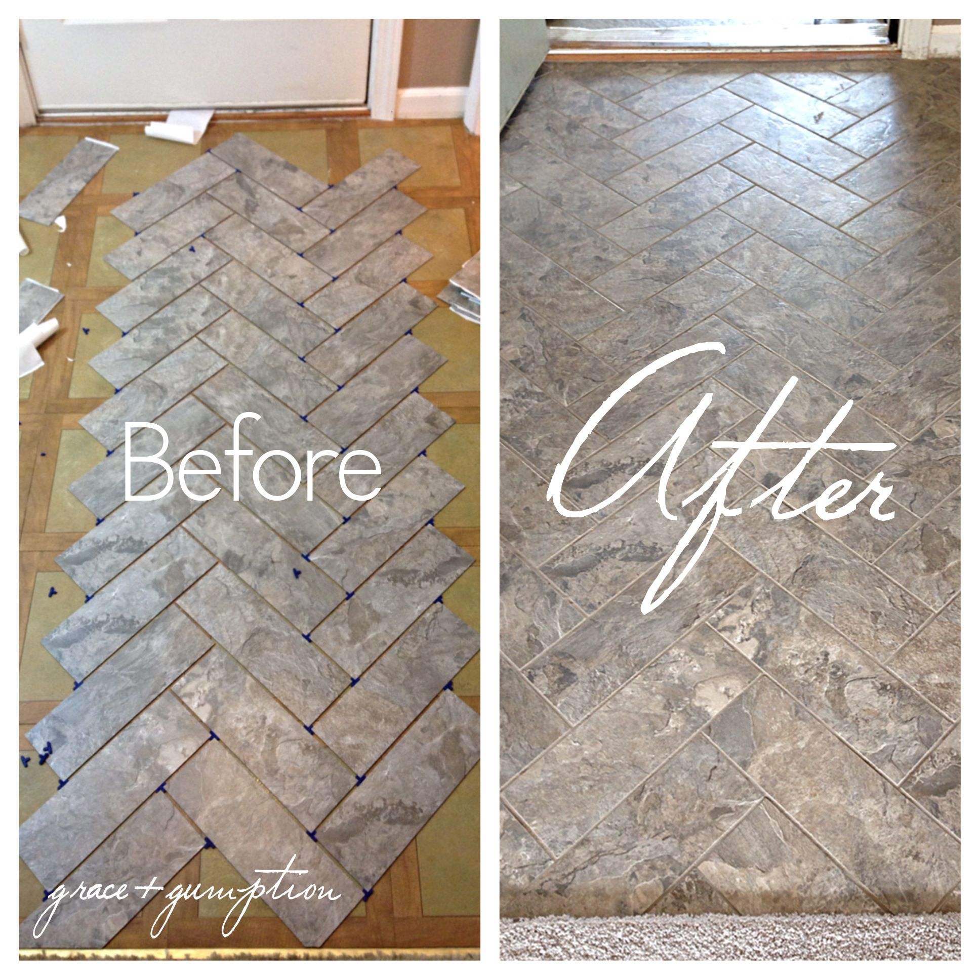 DIY Herringbone Peel-n-Stick Tile Floor Before and After by Grace + ...
