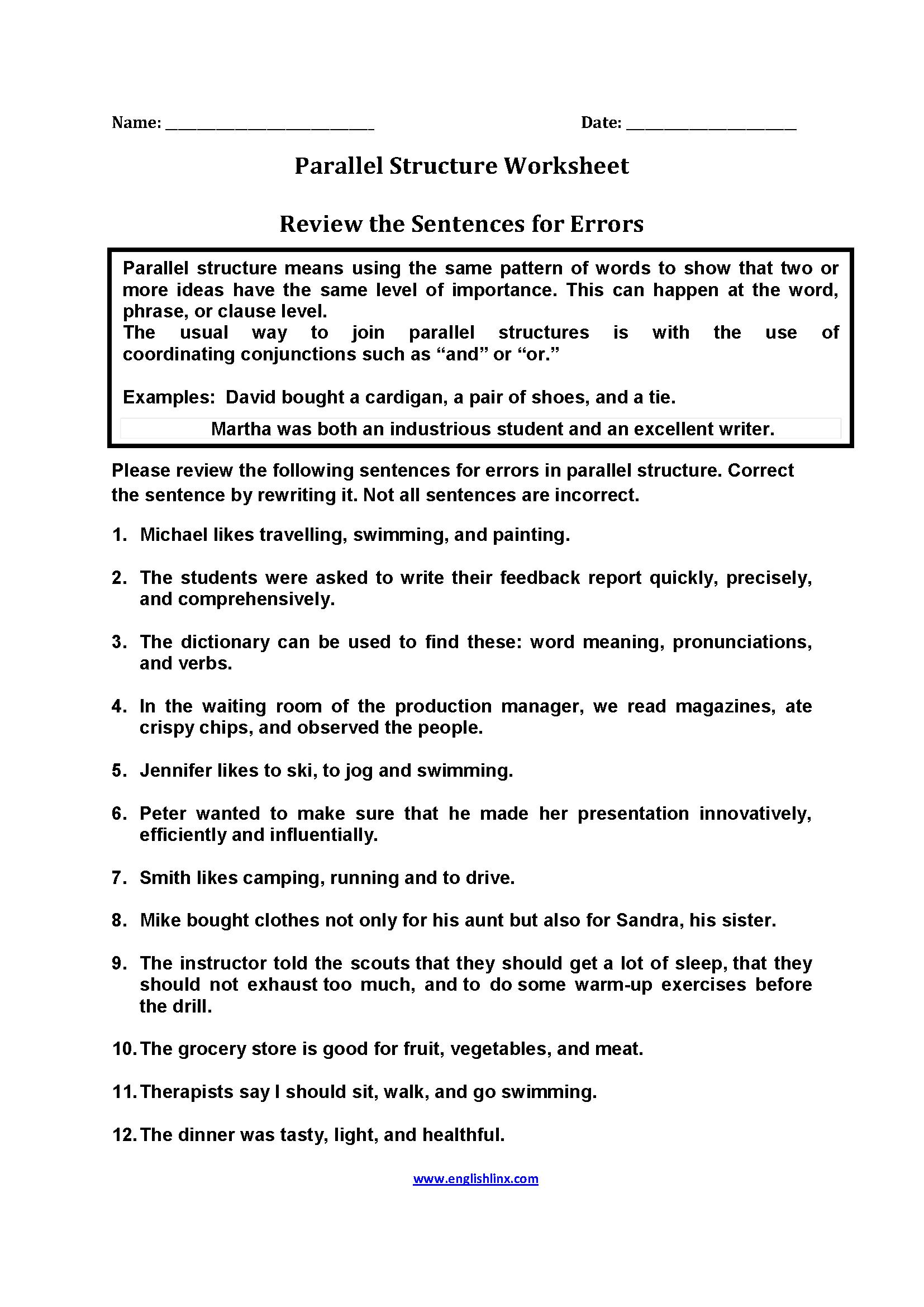 medium resolution of Parallel Structure Worksheets   Parallelism grammar