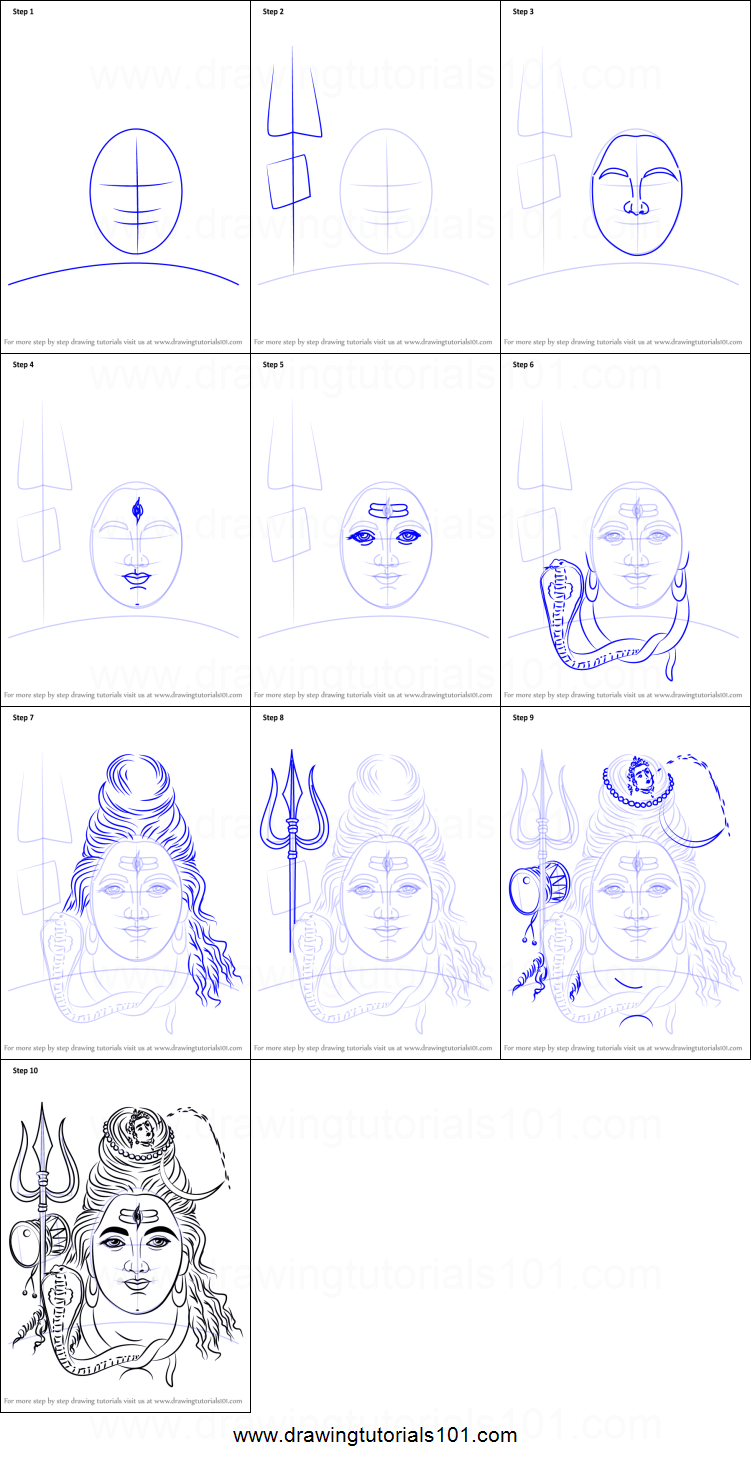 How to draw lord shiva face printable drawing sheet by drawingtutorials101 com