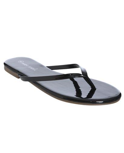 Wrapped Flip Flop Sandal - Black, Size 6  Wet Seal -5235