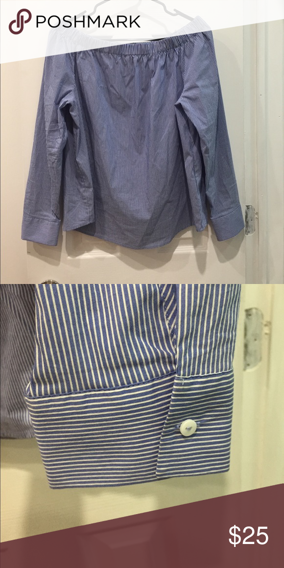 2d54cc87fc Off the shoulder. Cute bottom detailing on cuffs. Blue and white stripes.  Long sleeve. Size Large. BARELY WORN. Zara Tops Blouses