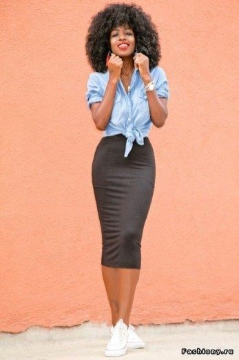 Denim + pencil skirt