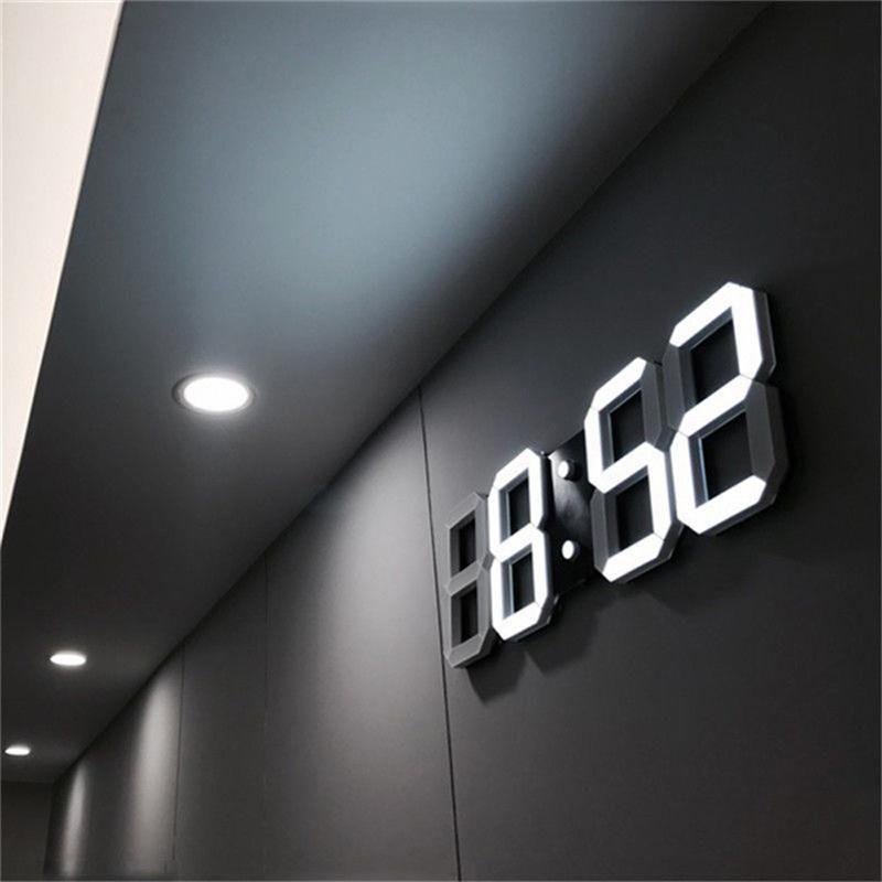 3d Led Wall Clock Modern Design Digital Table Clock Alarm Nightlight Saat Reloj De In 2020 Led Wall Clock Wall Clock Modern Wall Clock Light