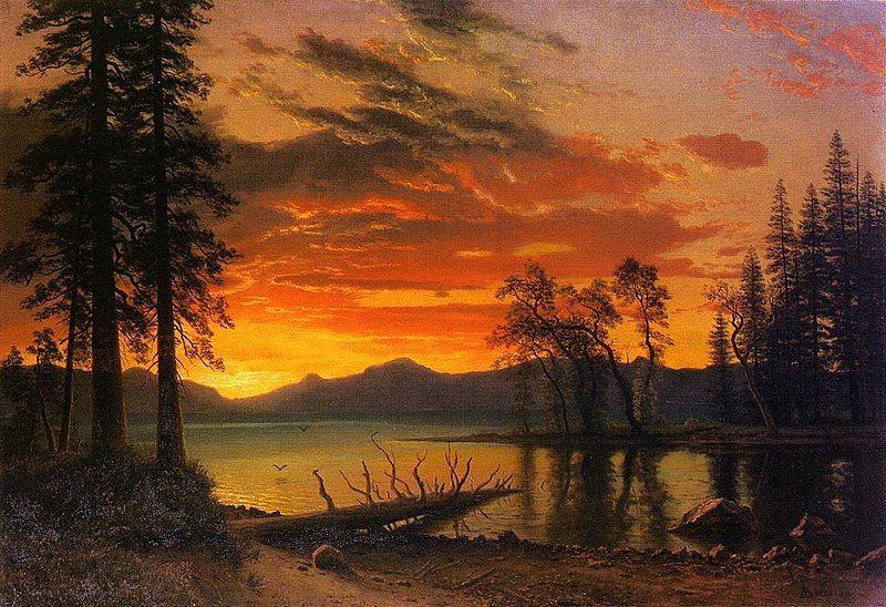 ALBERT BIERSTADT POSTER Tropical Sunset Fishing Boats
