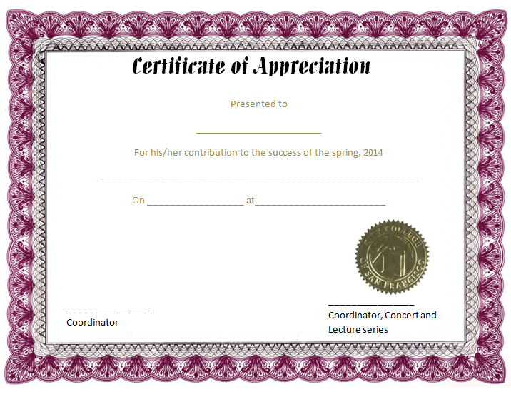 Certificate Of Appreciation Template Purple Feather Border
