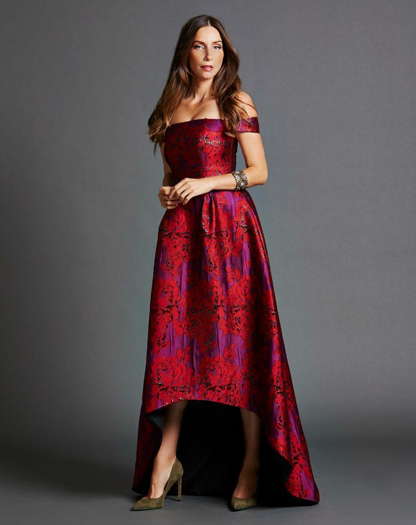 9627b645f3 Amethyst and Garnet Floral Off-Shoulder Crinkle Gown