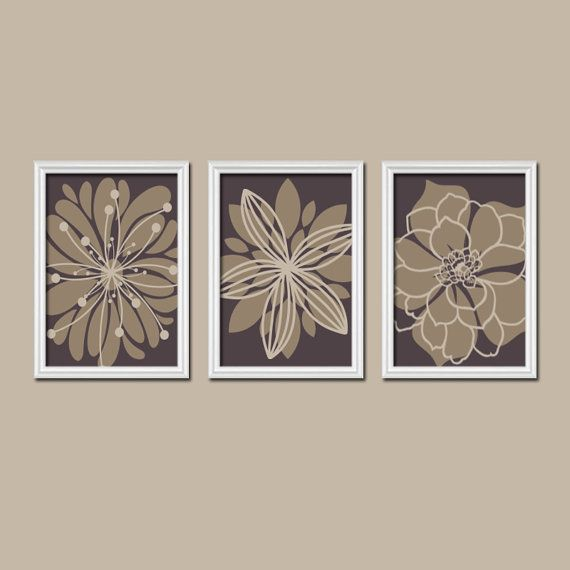 Wall Art Canvas Artwork Brown Beige Flower Burst Outline Dahlia Floral Bloom Set Of 3 Prints