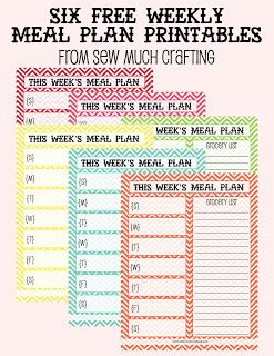 Free meal planning printables: Sew Much Crafting has weekly AND monthly coordinating meal planning printables!