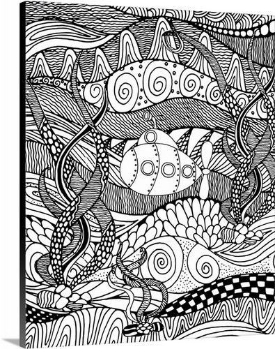 Submarine Ii Line Art Coloring Canvas Coloring Canvas Coloring Book Art Book Wall Art