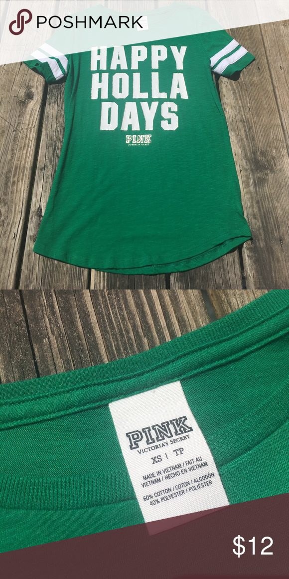 Victoria Secret Tee Green with stripes on sleeves, only worn once last year during Christmas time. Great condition. Size XS tall petite. PINK Victoria's Secret Tops Tees - Short Sleeve