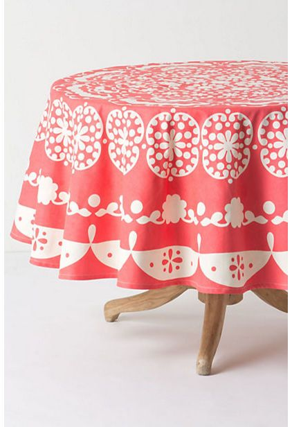 Mina Tablecloth, Round   Coral This Color Is Lovely!