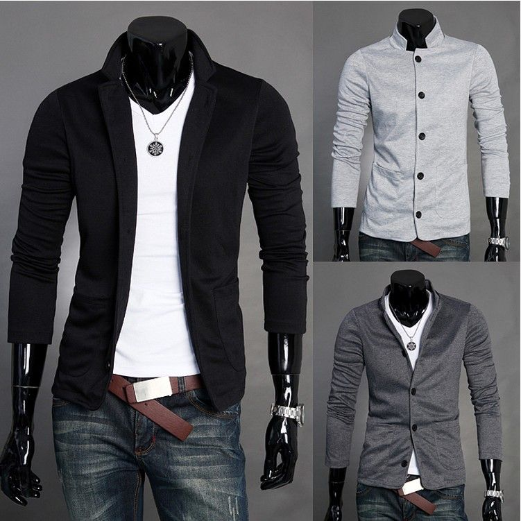 Slim Standing Collar Knitted Suits Men S Leisure Suits Men