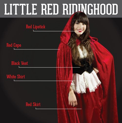 Little Red Riding Hood: red lipstick, red cape, black vest, white ...
