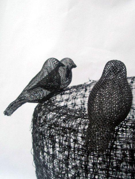 Emma Davies awesome bird sculptures (wire?)
