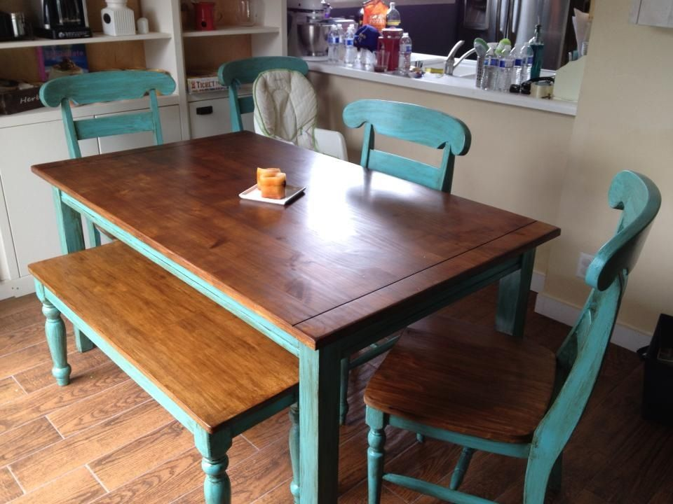 Teal table refinished craft ideas diy projects pinterest for Teal dining room table