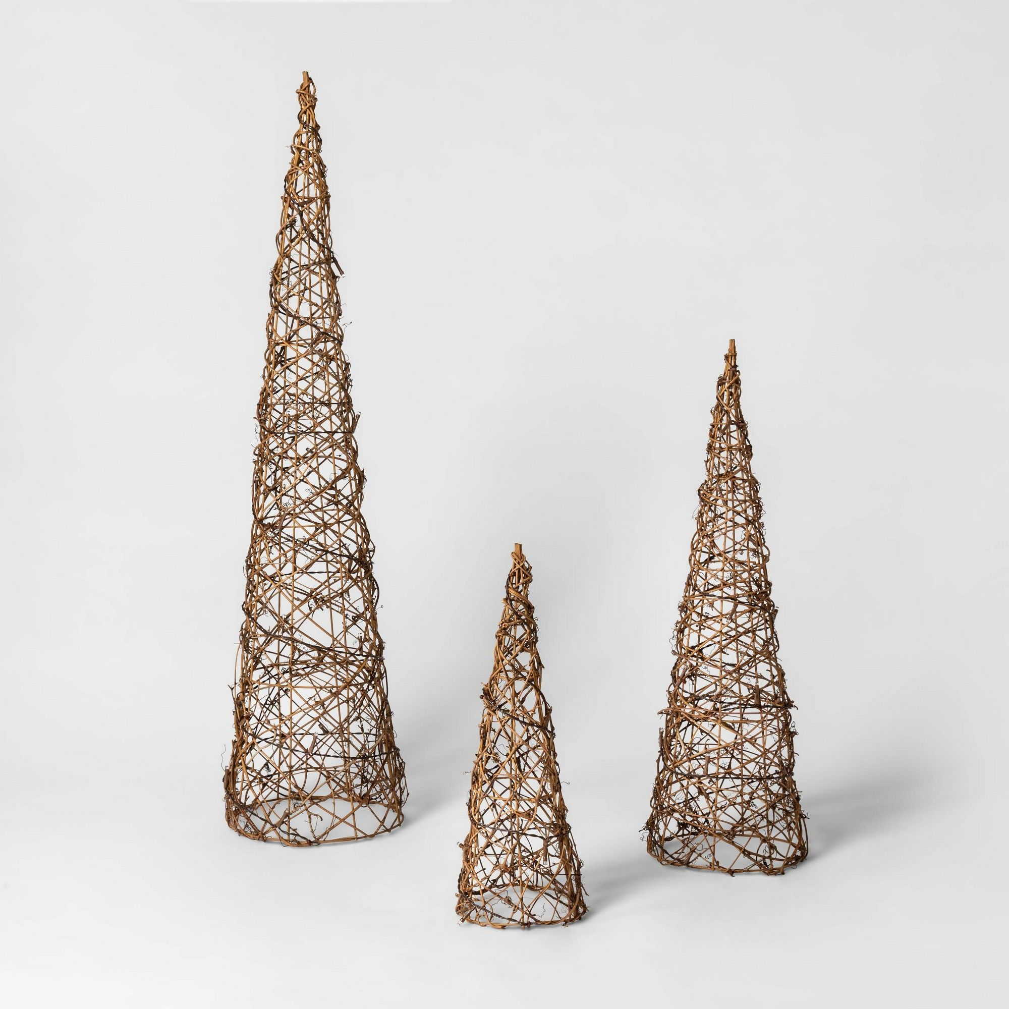 3ct Christmas LED Cone Trees Brown Rattan Battery Operated
