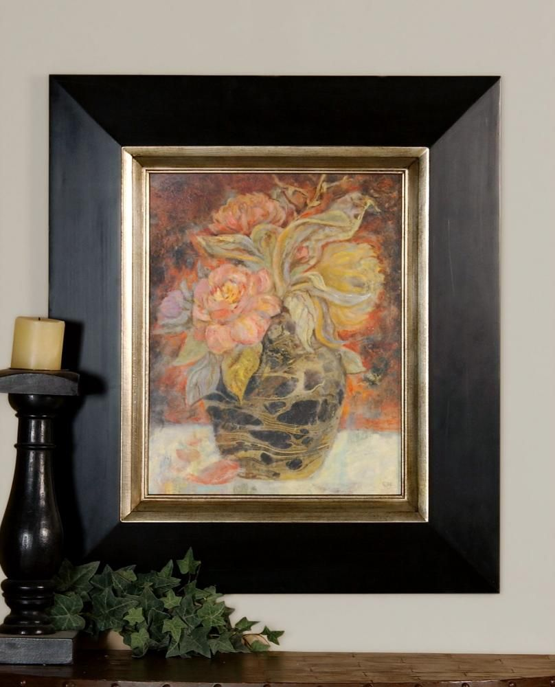 FLORAL BUNDA : CR7R | Garbe's This oil reproduction features a hand applied dabb finish. The wood frame has a distressed black finish with a silver leaf inner lip with gray glaze. Designer: Grace Feyock  Dimensions: 28 W X 32 H X 2 D (in)  www.garbes.com