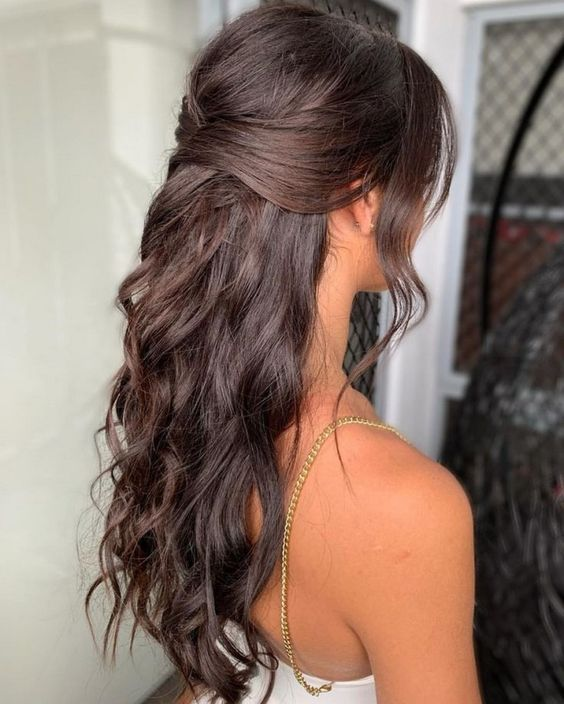 Charming Half Up Half Down Wedding Hairstyles 2020 In 2020 Simple Prom Hair Hair Styles Down Hairstyles