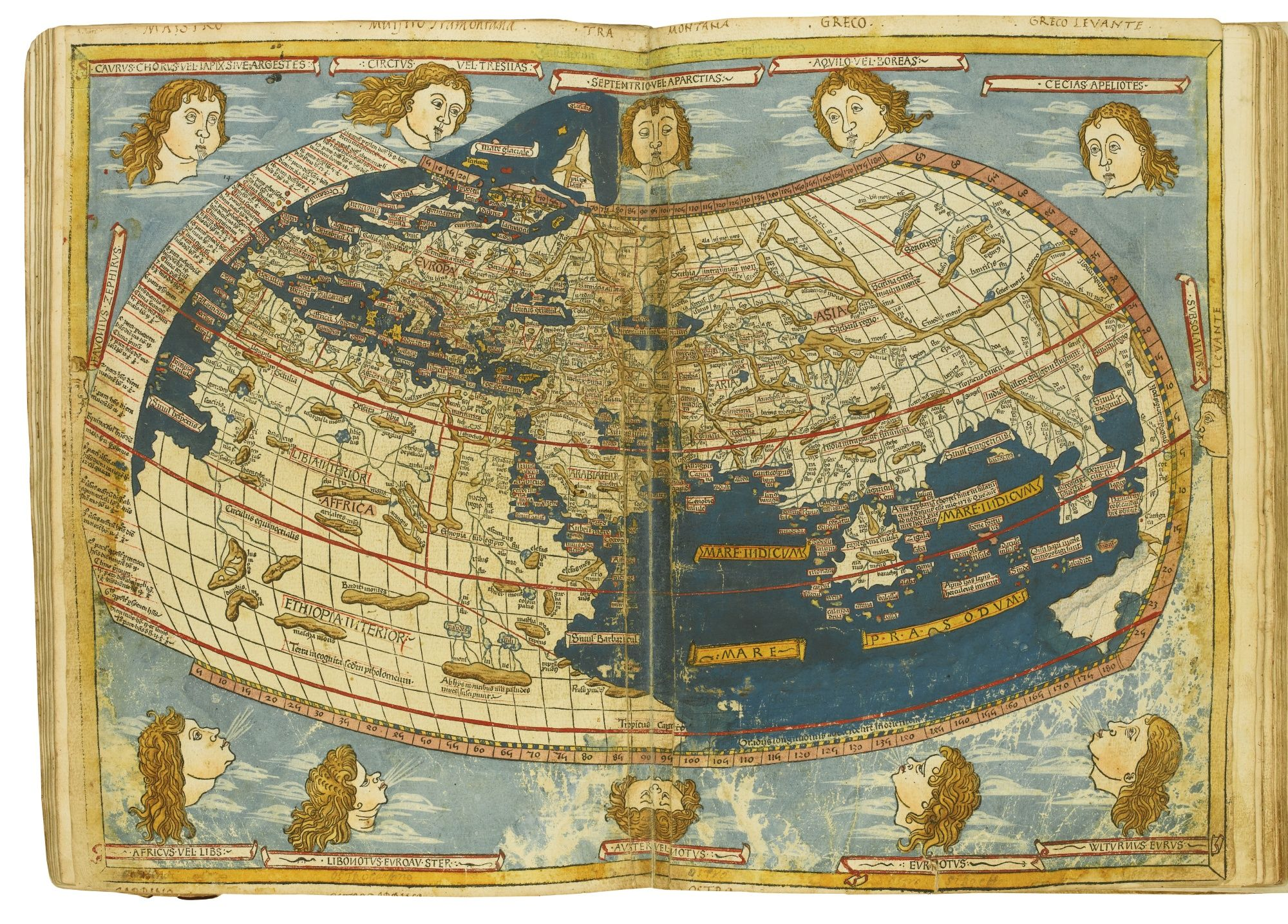 Ptolemaeus claudius lot sothebys paper art diaries ptolemys world map with its rich colours and its distinctive elegant roman type the 1482 ulm ptolemy was one of the finest and most ambitious printing gumiabroncs Image collections