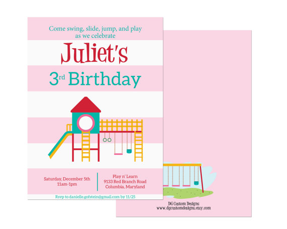 Playground birthday invitation indoor playground party girl party playground birthday invitation indoor playground party girl party pink stripes digital file filmwisefo Gallery