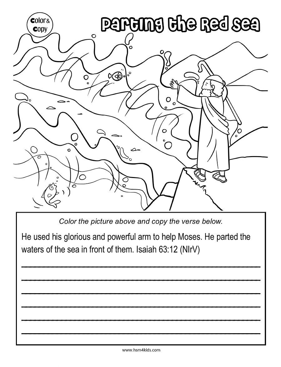 Parting The Red Sea Coloring Parting The Red Sea Bible Coloring Pages Bible Worksheets