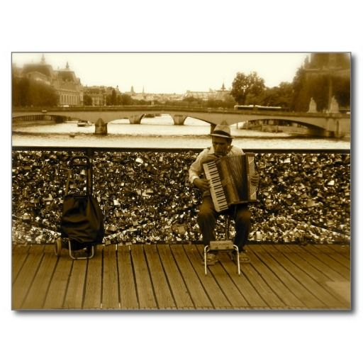 The Accordion Player on the Lovelock Bridge, Paris POSTCARD - SEE MORE DETAILS - http://www.zazzle.com/the_accordion_player_postcard-239416689966144668?rf=238023692066029999