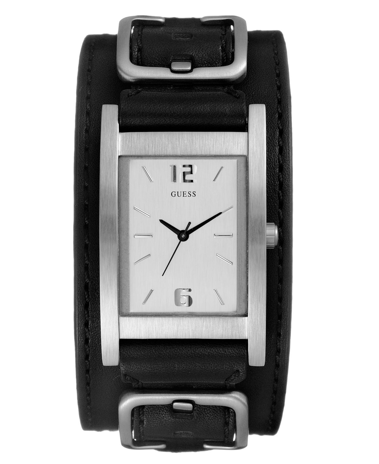 Guess Watch, Men's Black Leather Cuff Bracelet Macy's