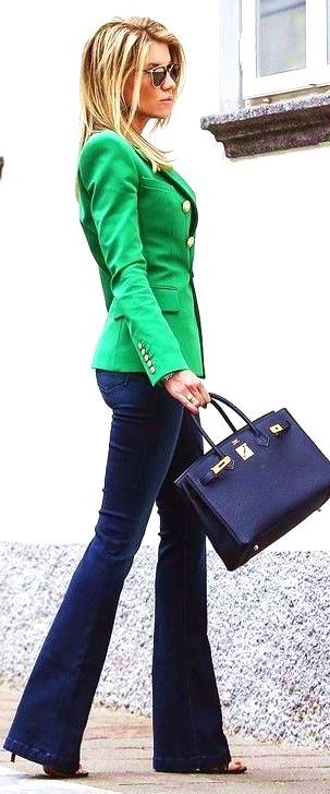 #spring #summer #fashion #outfitideas Green Blazer  Navy Flares  - more on http://ift.tt/2rynWxj