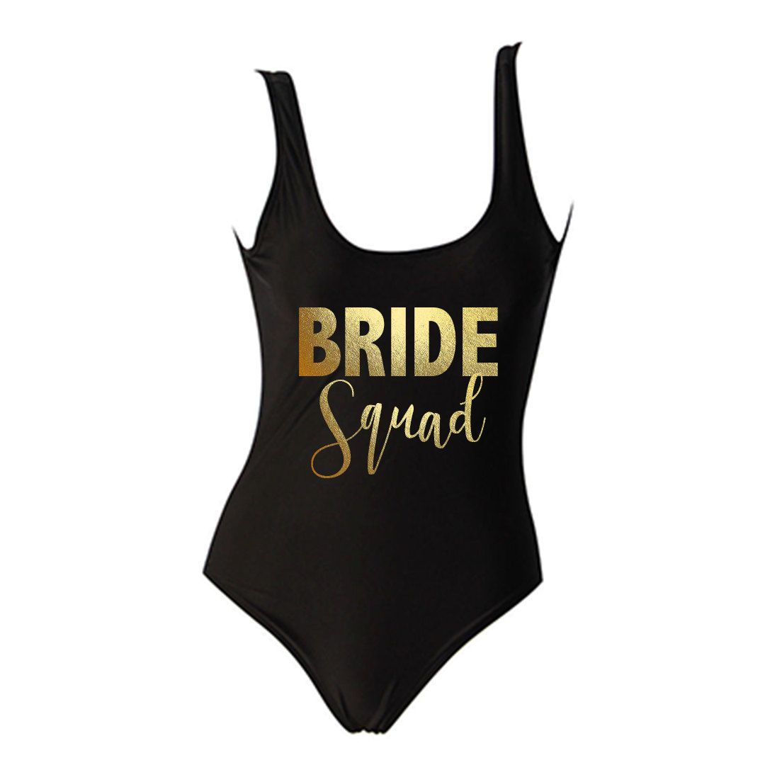 The Best Wedding Gift Ideas That Suits Every Bride And: Bride Squad Gold Text Black One Piece Swimsuit
