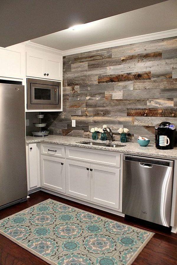 Basement Kitchen With A Diy Weathered Wood Backsplash Diff
