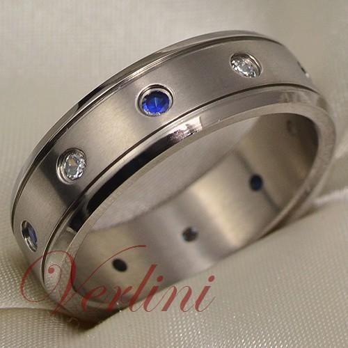 mens titanium ring wedding band blue sapphire diamond - Mens Sapphire Wedding Rings