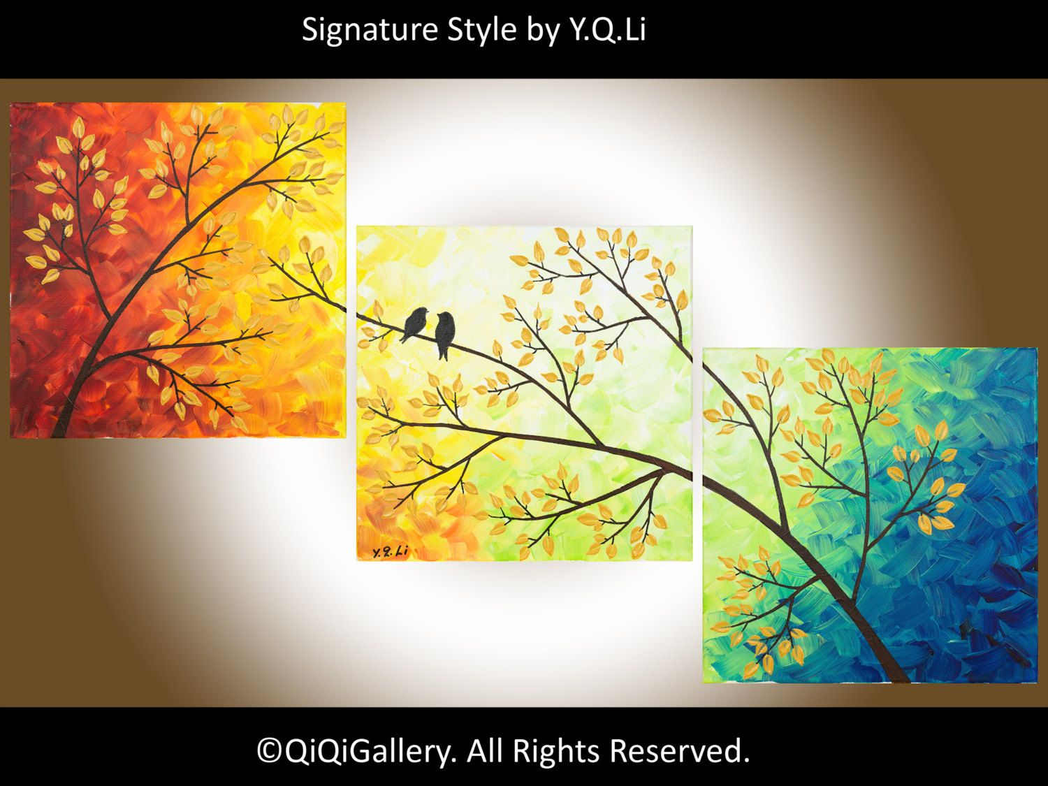 36 Abstract Landscape Painting Original Modern Heavy Texture Impasto  Palette Knife Tree Love Birds Wall Dcor
