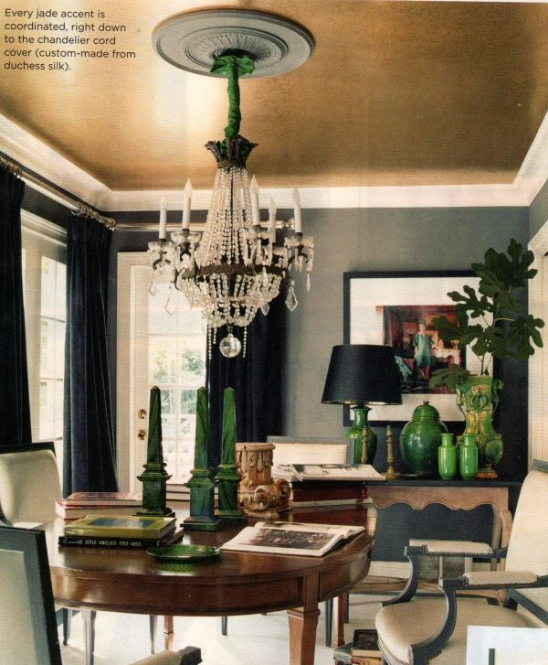Gold metallic ceiling with deep gray walls | Metallic ...