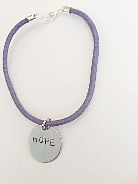 Leather Thong Bracelet  Purple Hope Bracelet  Hand by EmmaFleet