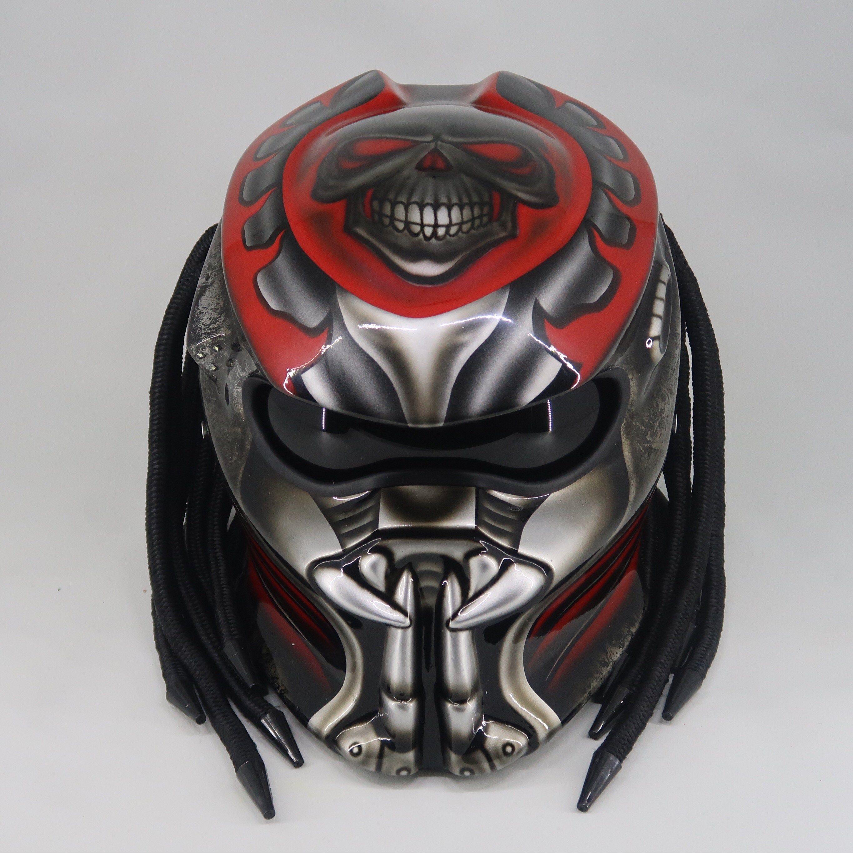 New Predator Helmet Skull Red Dot Ece Certified In 2021 Predator Helmet Helmet Motorcycle Helmets