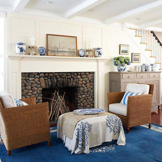 beautiful field stone fireplace surround I LIKE THE ROCK ... on Fireplace Casual Living id=63773