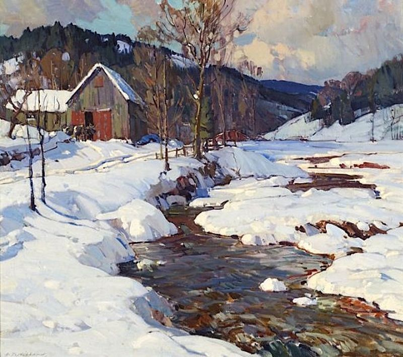 Aldro Hibbard 1886 1972 February Vermont Winhall River Rawsonville Vermont 30 25 X 34 In Winter Landscape Painting Winter Painting Landscape Paintings
