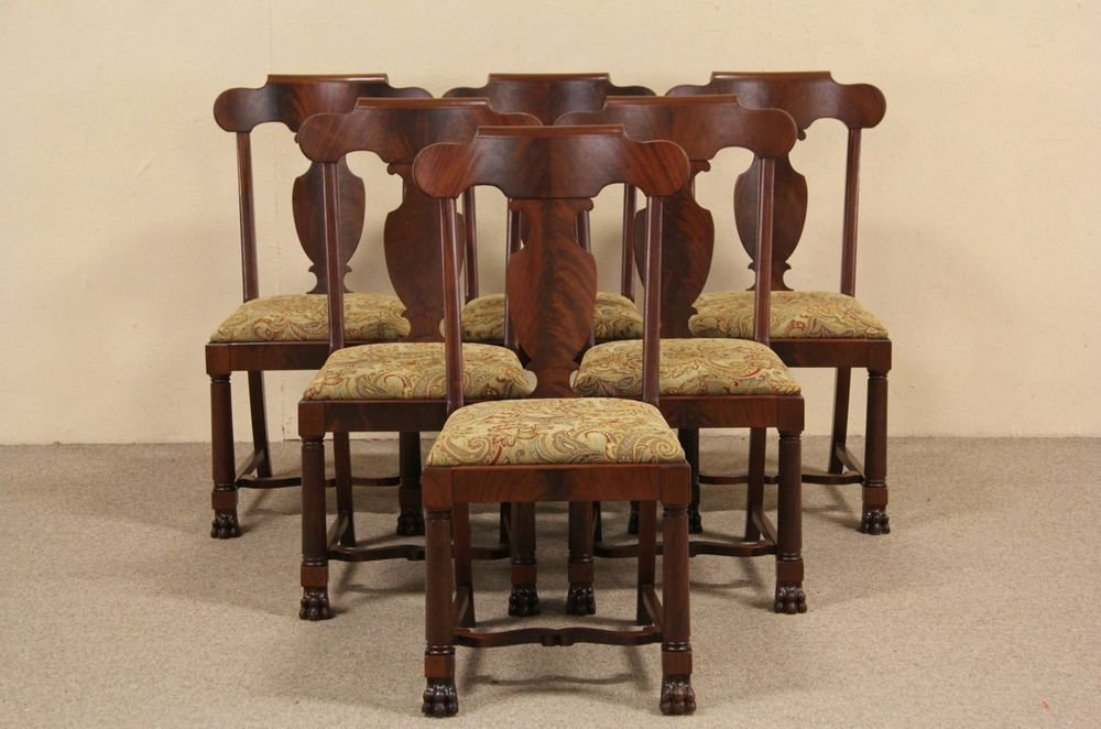 Room Set Of Six 1900 Antique Empire Mahogany Dining