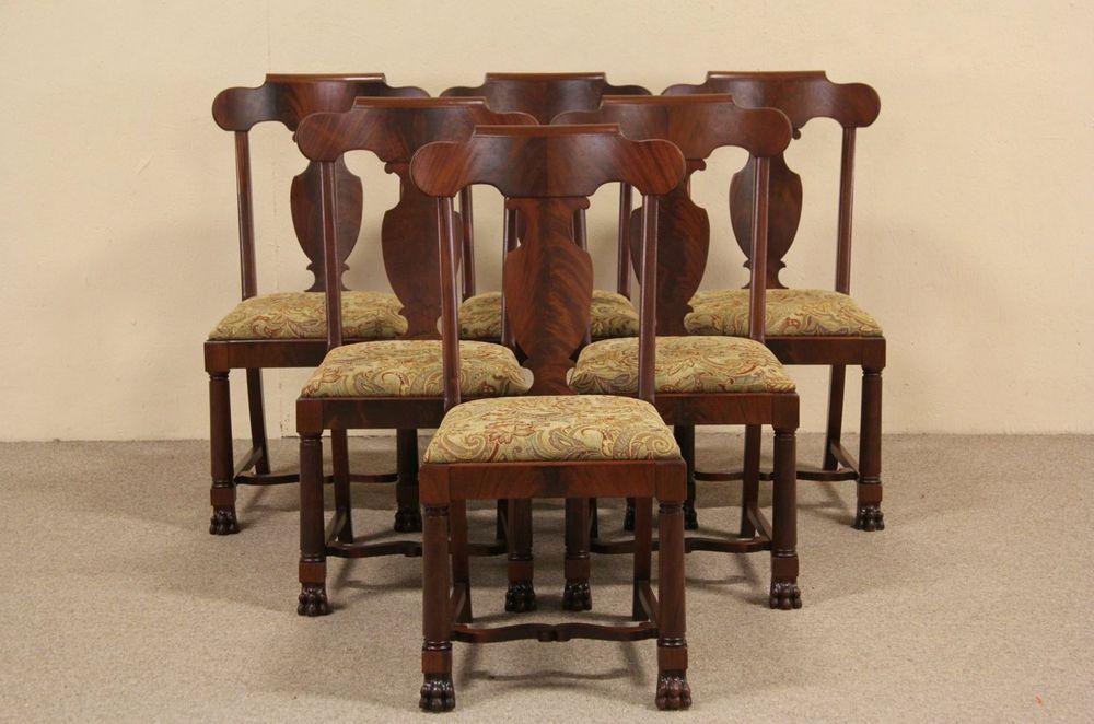 Set of Six 1900 Antique Empire Mahogany Dining Chairs, Paw Feet #Empire - Set Of Six 1900 Antique Empire Mahogany Dining Chairs, Paw Feet